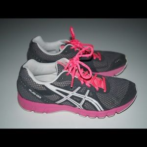 ASICS pink and grey running shoes
